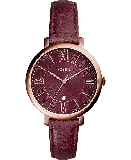 Fossil Jacqueline Red Leather Strap Women's Watch 36mm