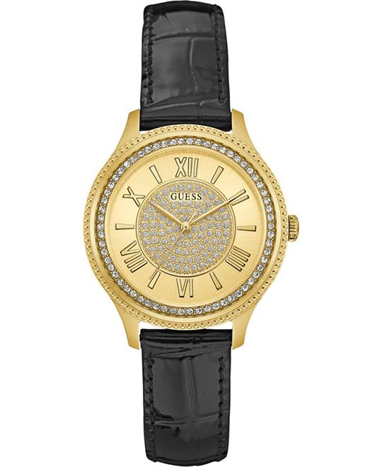 GUESS Madison Black Leather Strap Women's Watch 37mm