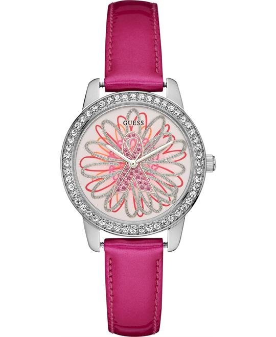 GUESS Pink Patent Leather Strap Women's Watch 34mm
