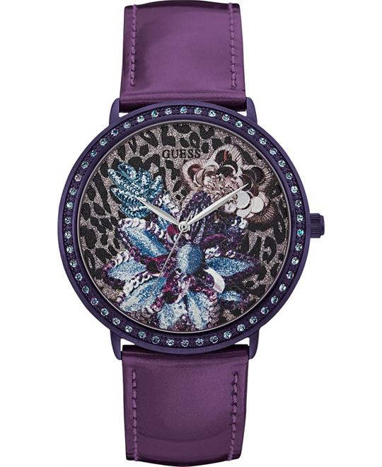 GUESS Purple Leather Strap Women's Watch 43mm