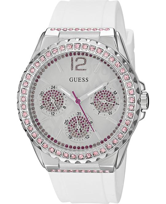 GUESS White Silicone Strap Women's Watch 40mm
