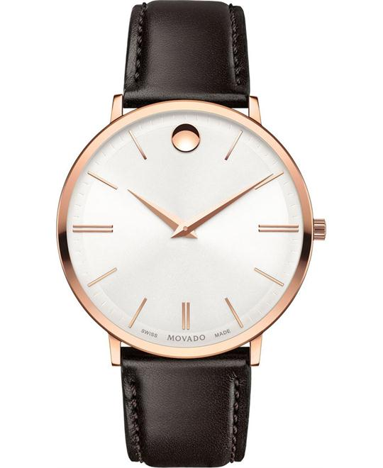 Movado Swiss Ultra Slim Brown Leather Watch 40mm