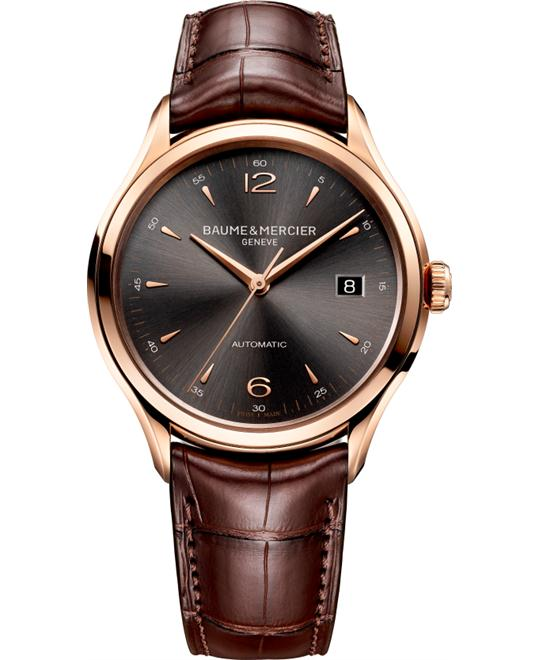 Baume & Mercier Clifton Rose Gold Brown Mens Watch, 38.8mm