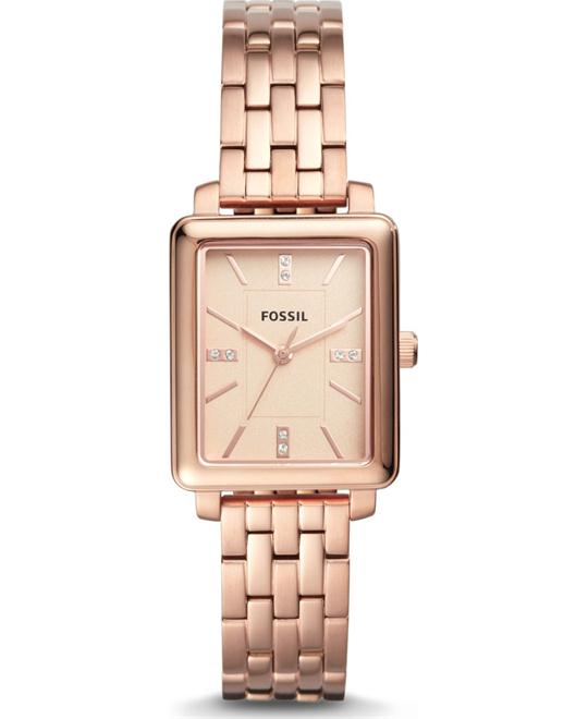 Fossil Fenton Three-Hand Rose Gold-Tone Watch 25x30mm