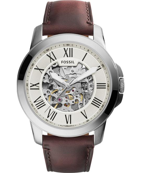 FOSSIL Grant Automatic Beige Skeleton Watch 45mm
