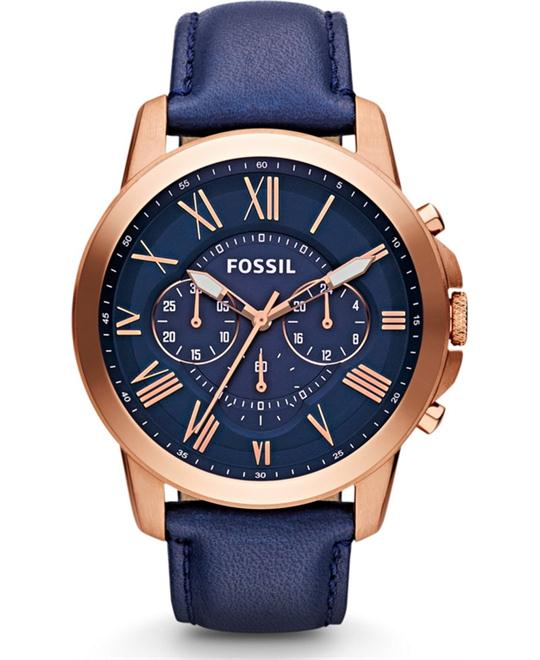 Fossil Grant Chronograph Navy/ Rose Gold Watch 44mm