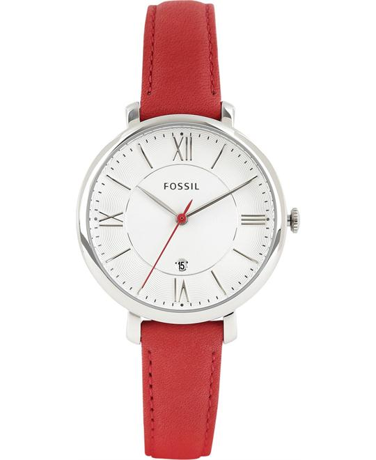 Fossil Jacqueline Date Red Leather Watch 36mm