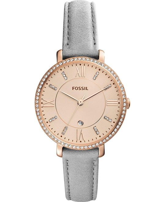 Fossil Jacqueline Gray Leather Strap Watch 36mm