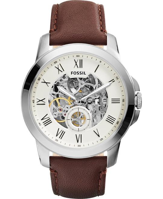 Fossil Men's Automatic Grant Brown Watch 44mm