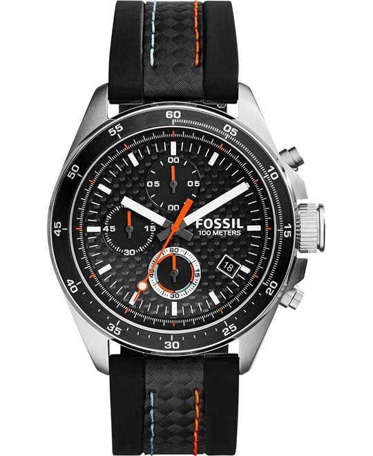 Fossil Men's Chronograph Decker Silicone Strap Watch 44mm