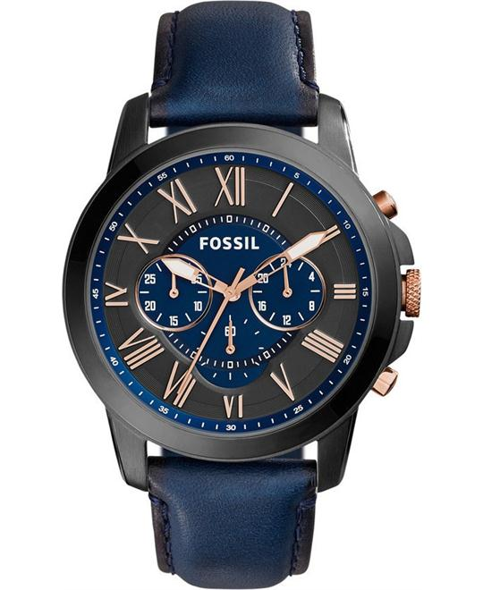 Fossil Men's Chronograph Grant Blue Watch 44mm