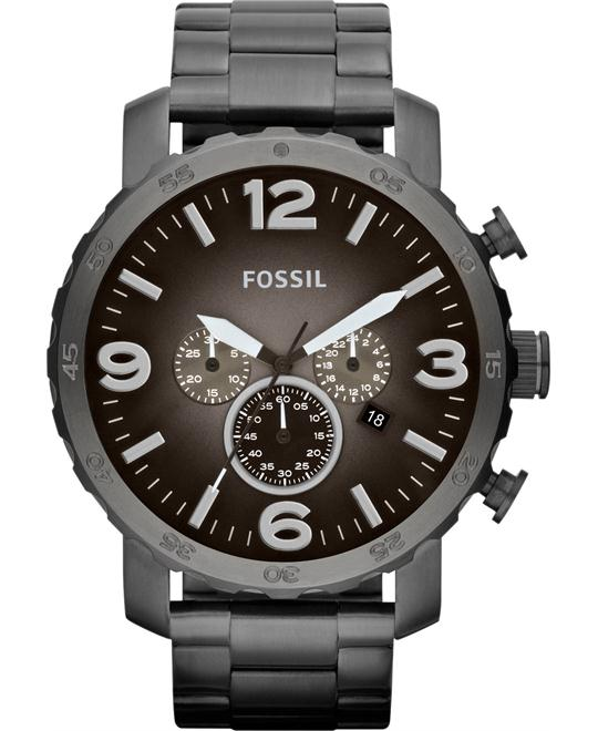 Fossil Men's Chronograph Nate Smoke Tone Watch 50mm