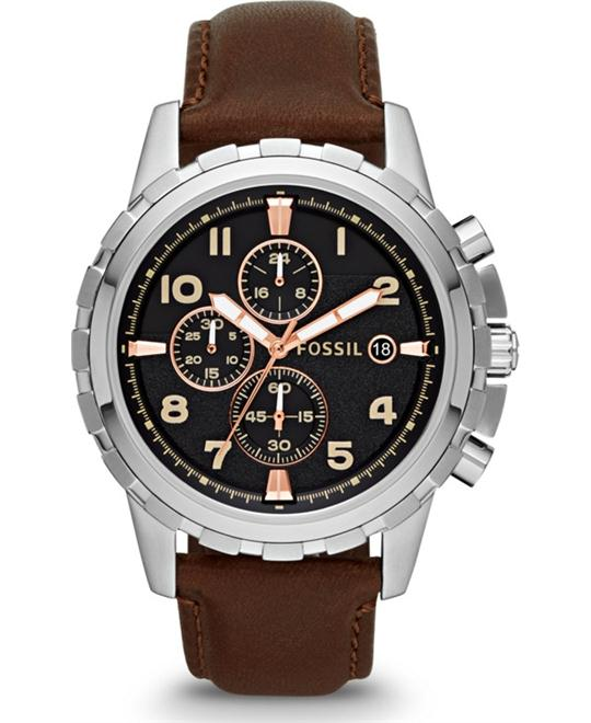 FOSSIL Mens Dean Leather Chronograph Watch 45mm