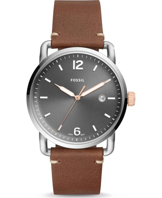 Fossil The Commuter Three-Hand Date Light Brown Watch 42mm