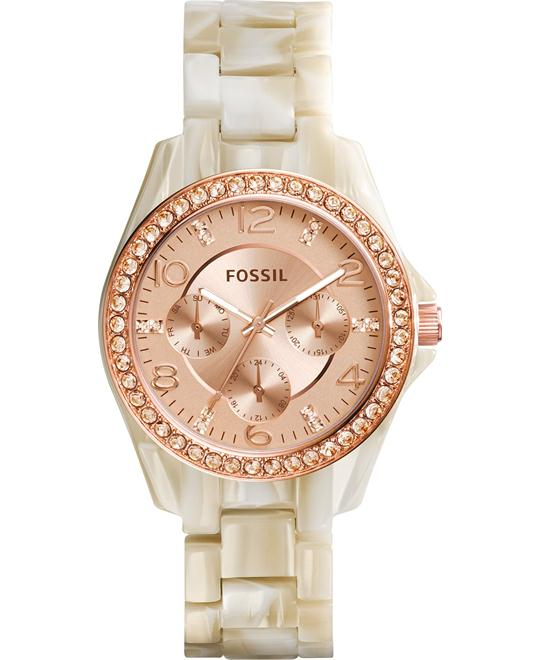 Fossil Women's Riley Shimmer Horn Acetate Watch 38mm