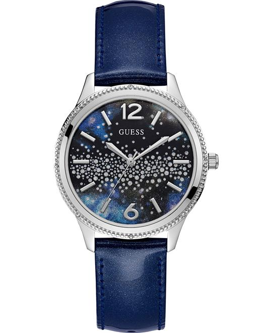 Guess Celeste Blue Leather Strap Ladies Watch 39mm