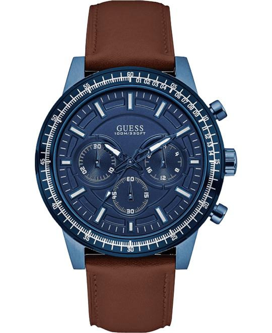 GUESS Iconic Genuine Leather Strap Watch 44mm