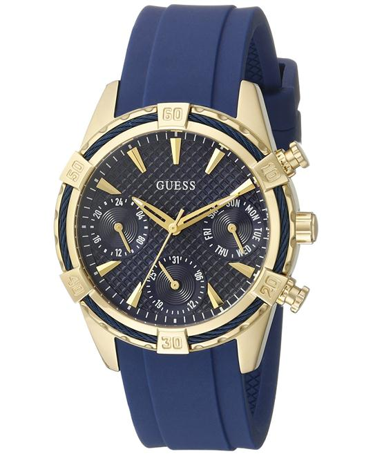 GUESS Iconic Indigo Blue & Gold-Tone Multi-Function Watch 35mm