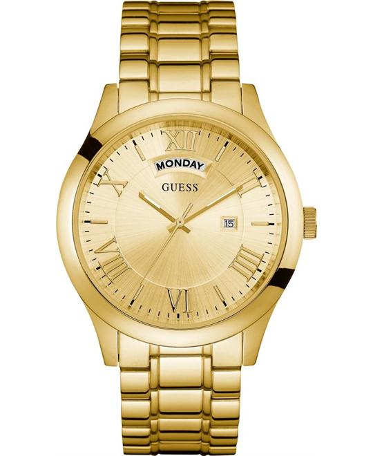 GUESS Men's Dressy Gold-Tone Stainless Steel Watch 44mm
