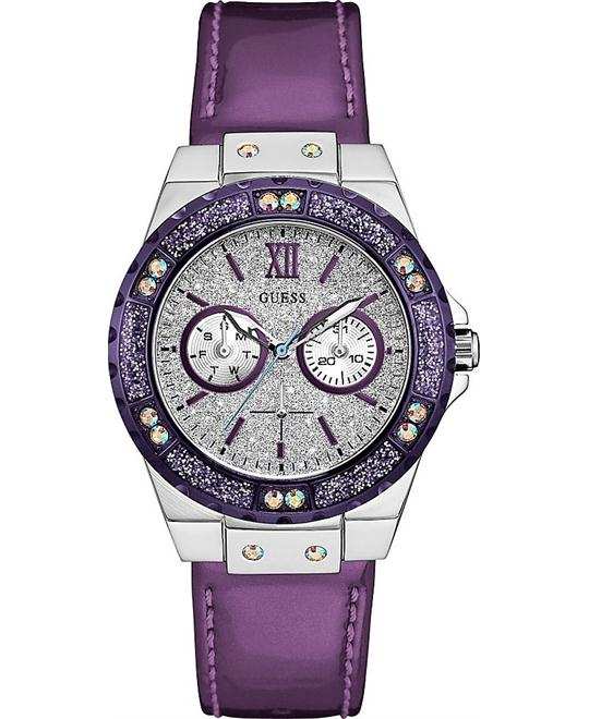 GUESS Purple Leather Strap Women's Watch 39mm