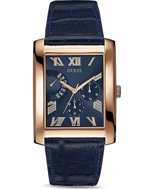 GUESS Rose Gold Tone Rectangular Blue Watch 36mm