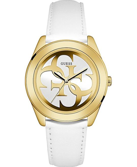 GUESS Standout Iconic White and Gold Watch 39mm