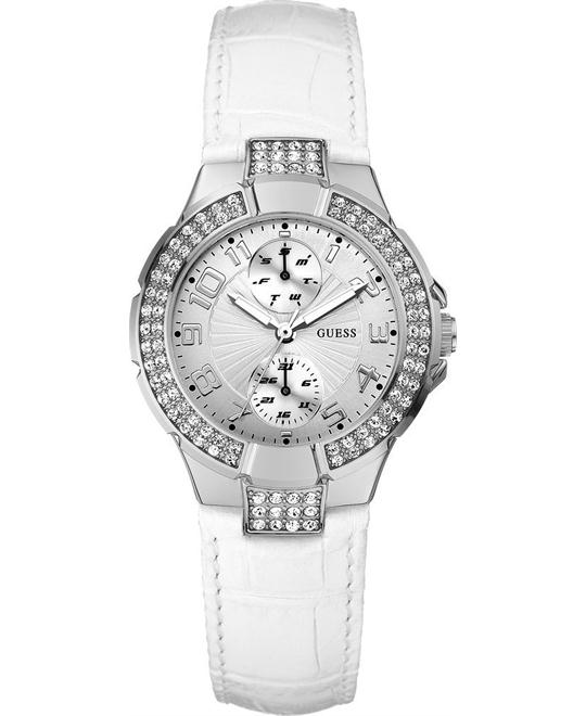 Guess White Leather Strap Watch 36mm