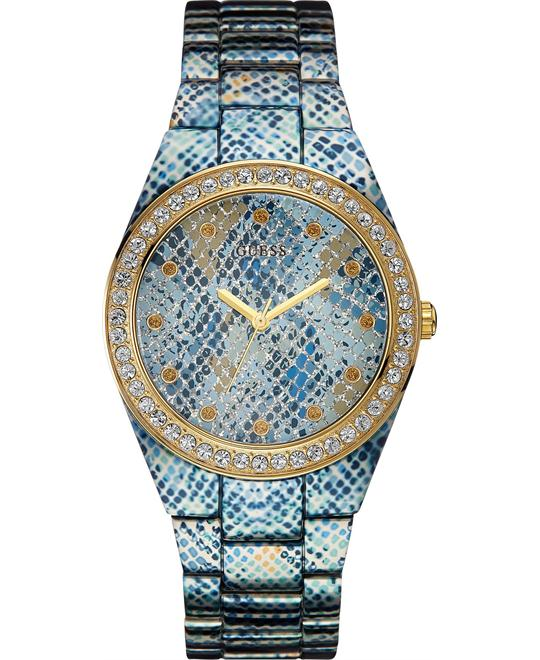 GUESS Ice Blue Python-Print Genuine Crystals 39mm