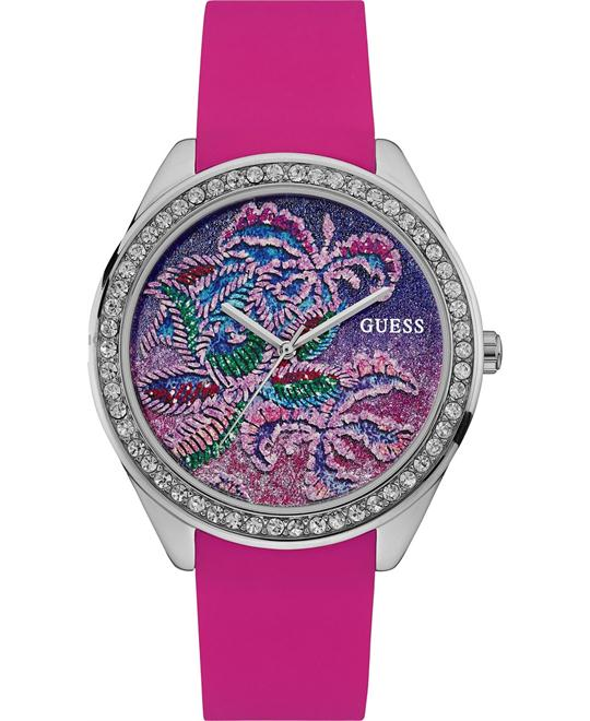 GUESS Women's Pink Silicone Strap Watch 44mm