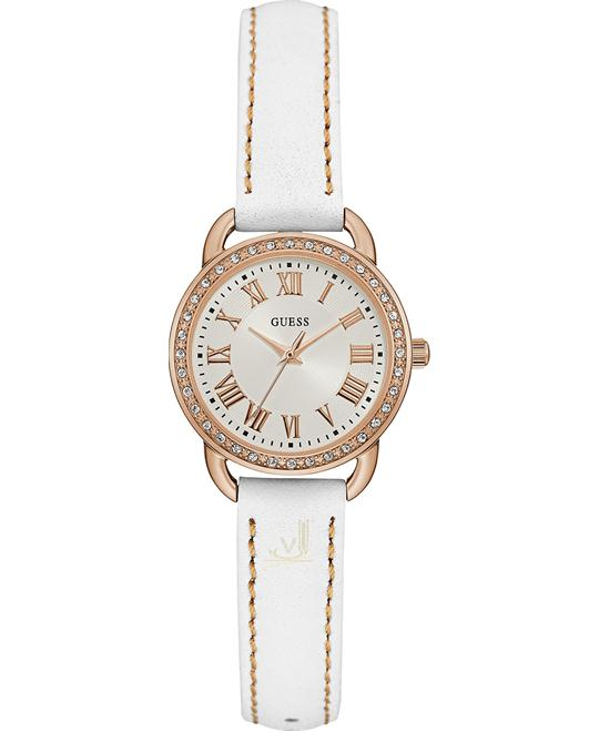 GUESS Women's White Leather Strap Watch 27mm