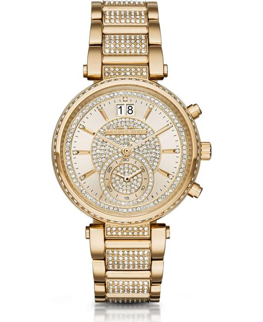 MICHAEL KORS Sawyer Champagne Pave Ladies Watch 39mm