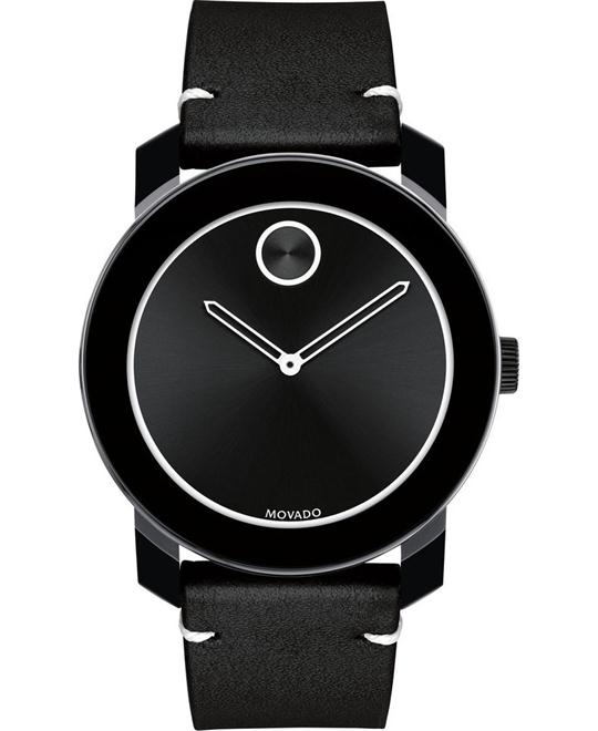 MOVADO Bold Black Dial Leather Men's Watch 42mm