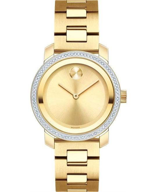 Movado Bold Gold Dial Ladies Watch 30mm