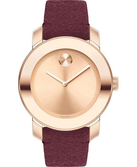 MOVADO Bold Rose Gold Suede Watch 36mm