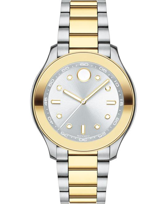MOVADO Bold Silver Dial Two Tone Ladies Watch 38mm