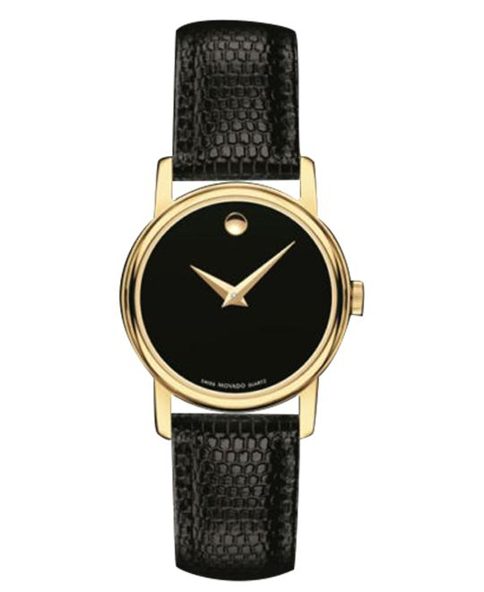 MOVADO Museum Black Leather Ladies Watch 26mm