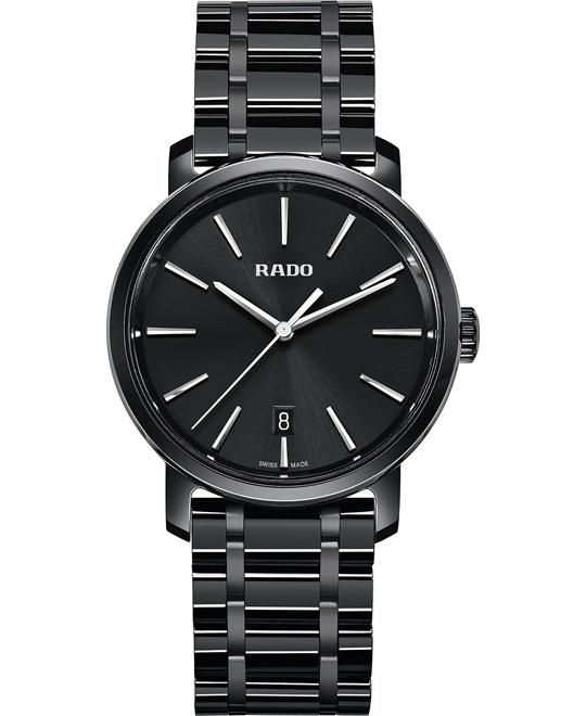 Rado Men's Swiss Black Ceramic Bracelet Watch 40mm