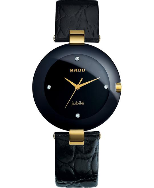 Rado Women's Coupole Diamond Black Leather Strap 35mm