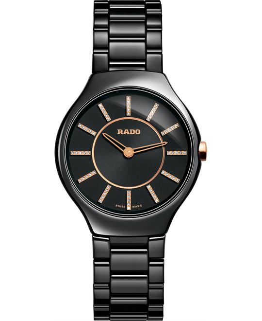 Rado Women's Swiss Diamond Black Ceramic 30mm
