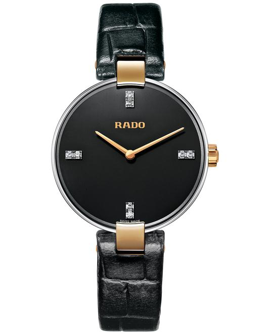 Rado Women's Swiss Diamond Black Leather Strap 33mm