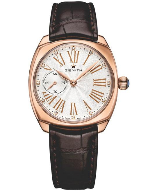 Zenith Ladies Rubber 18kt Rose Gold 33mm X 33mm