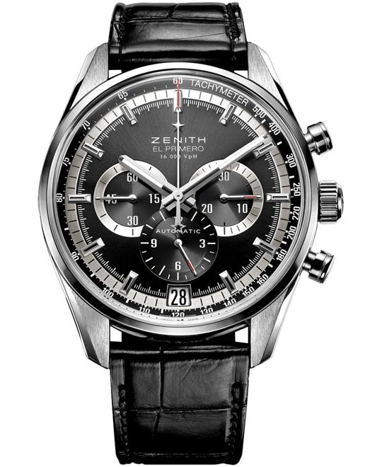 Zenith Mens Stainless Steel Leather 42mm