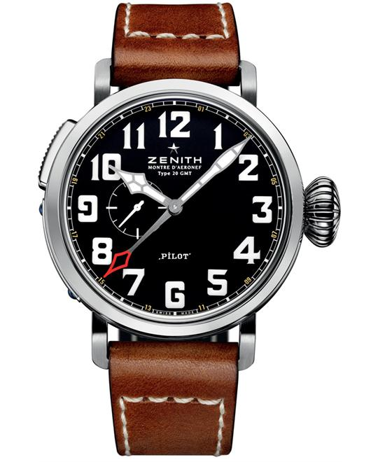 Zenith Mens Stainless Steel Leather 48mm